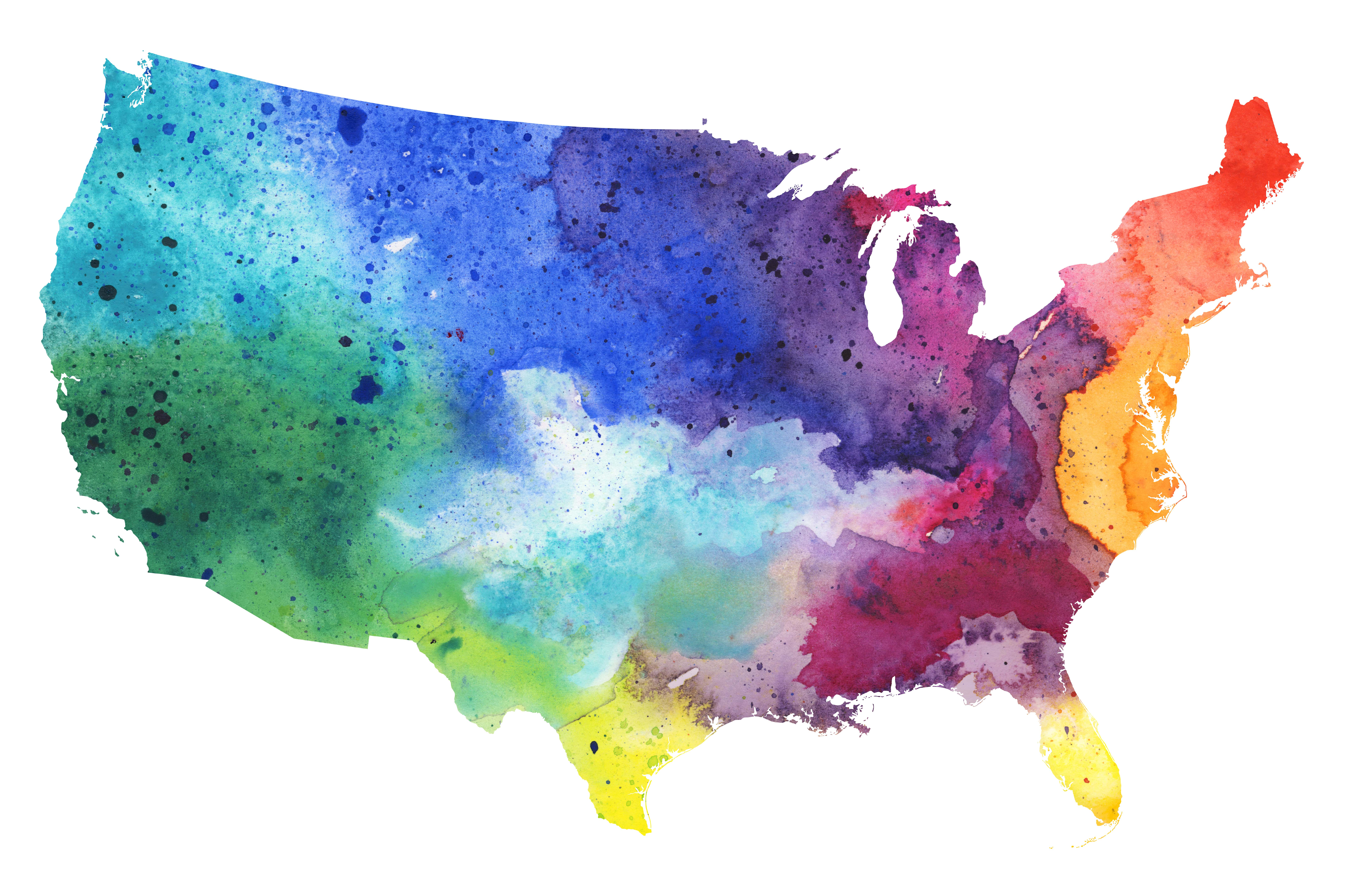 Map of United States with Watercolor Texture - Raster Illustration ...